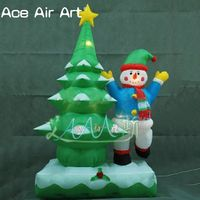 Popular design snowy Christmas trees and snowmen in blue coats inflatable Christmas combination decorations