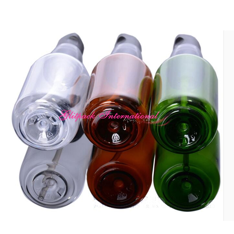 50 unids/lote ámbar verde claro de los PP del color negro mate de la bomba de 50ml del animal doméstico 80ml botellas de crema botellas de aceite esencial contenedor la Loción de embalaje-in Botellas rellenables from Belleza y salud    2