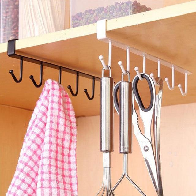 Kitchen Iron Storage Rack Multi-functional Cupboard Hanging Hook Shelf Bathroom Organizer Holder For Towel Cup Drainer Holder