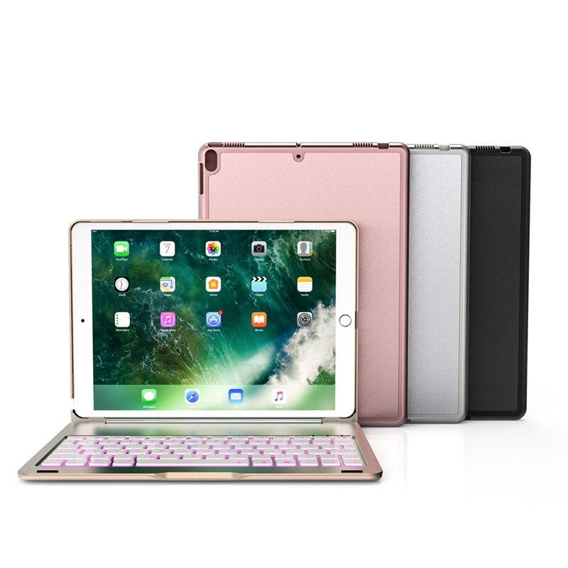 Étui pour ipad Pro 10.5 de haute qualité 7 couleurs rétro-éclairé lumière sans fil étui pour clavier bluetooth Cove luxe en métal clavier tablette sac