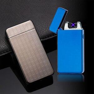 Image 3 - De Plasma USB Dual de arco, metálico encendedor recargable a prueba de viento mechero electrónico cigarrillo arco de doble pulso Cruz trueno Ligthers