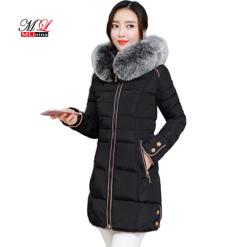 MLinina Winter Female Jacket Long   Parkas   2018 Winter Coat Women Fur Collar Warm Woman Cotton   Parka   Down Jacket Outerwear Female