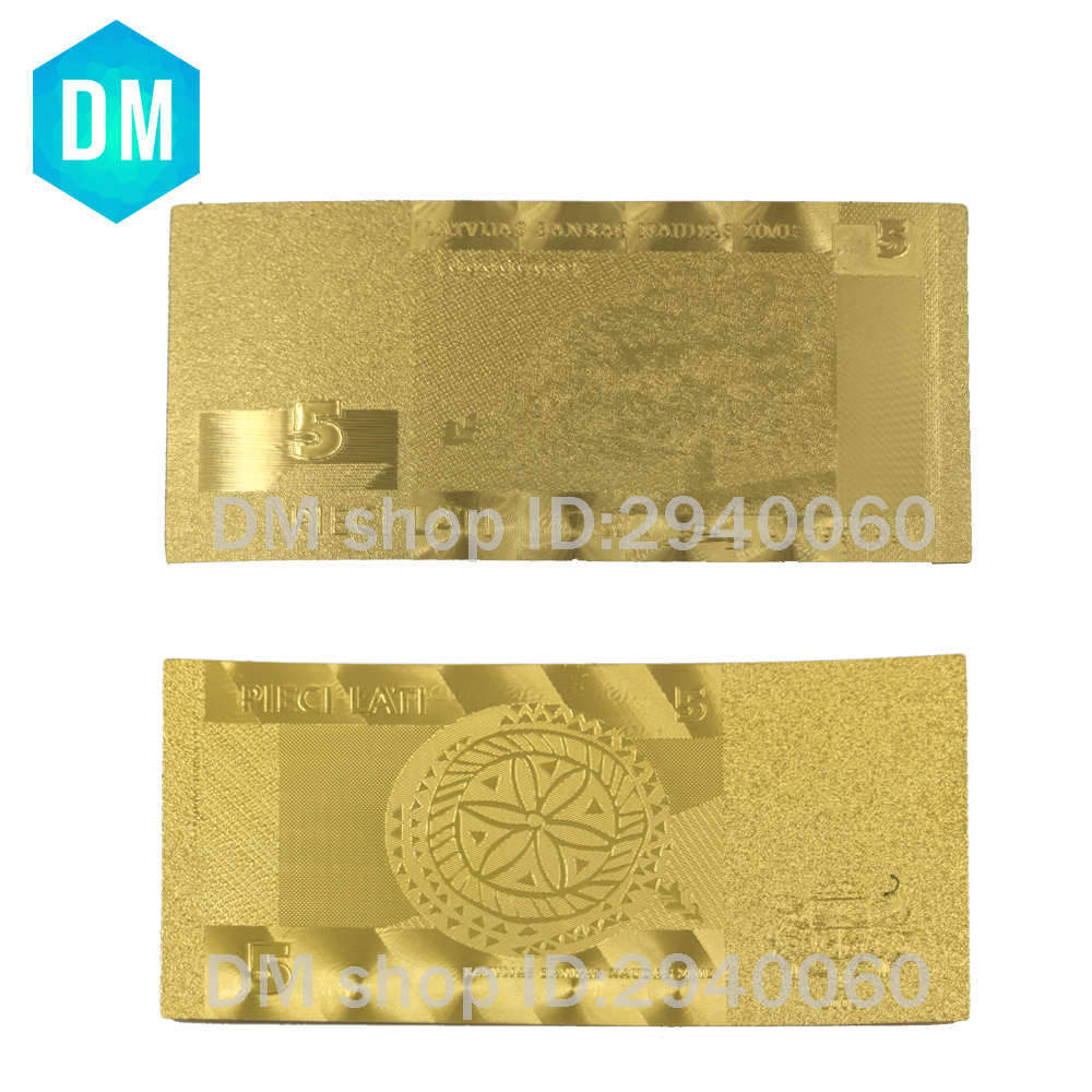 Latvia 24k 999.9 Gold Banknote Home Decoration Crafts Paper Money Lat Set for Student Collection Birthday Souvenirs