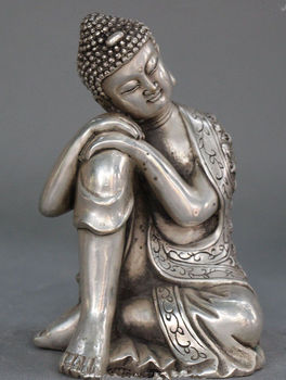 Elaborate Tibetan Buddhism Silver Seat Sleep Sakyamuni Buddha Statue