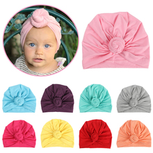 Candy Color Baby Hat for Boys Girls Soft Cotton Baby Turban with Big Knot Newborn Infant Beanie Cap India Hats Photography Props yundfly knit baby hat newborn photography props candy color flower beanie cap baby fotografia hair accessories