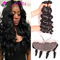 Ear To Ear Lace Frontal Closure With Bundles,Loose Wave 4 Bundles With Closure Brazilian Virgin Hair With Frontal Closure Bundle