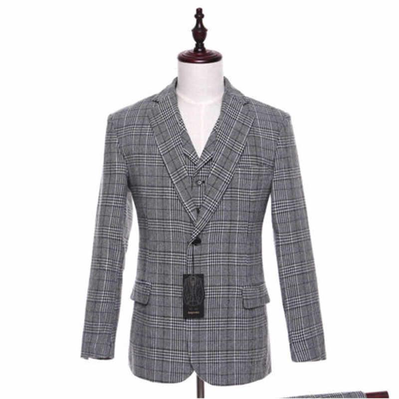 f701ccdec3e1e ... Новый светло-серый полосатый мужской свадебный костюм строгий костюм;  для жениха фраки строгие костюмы ...