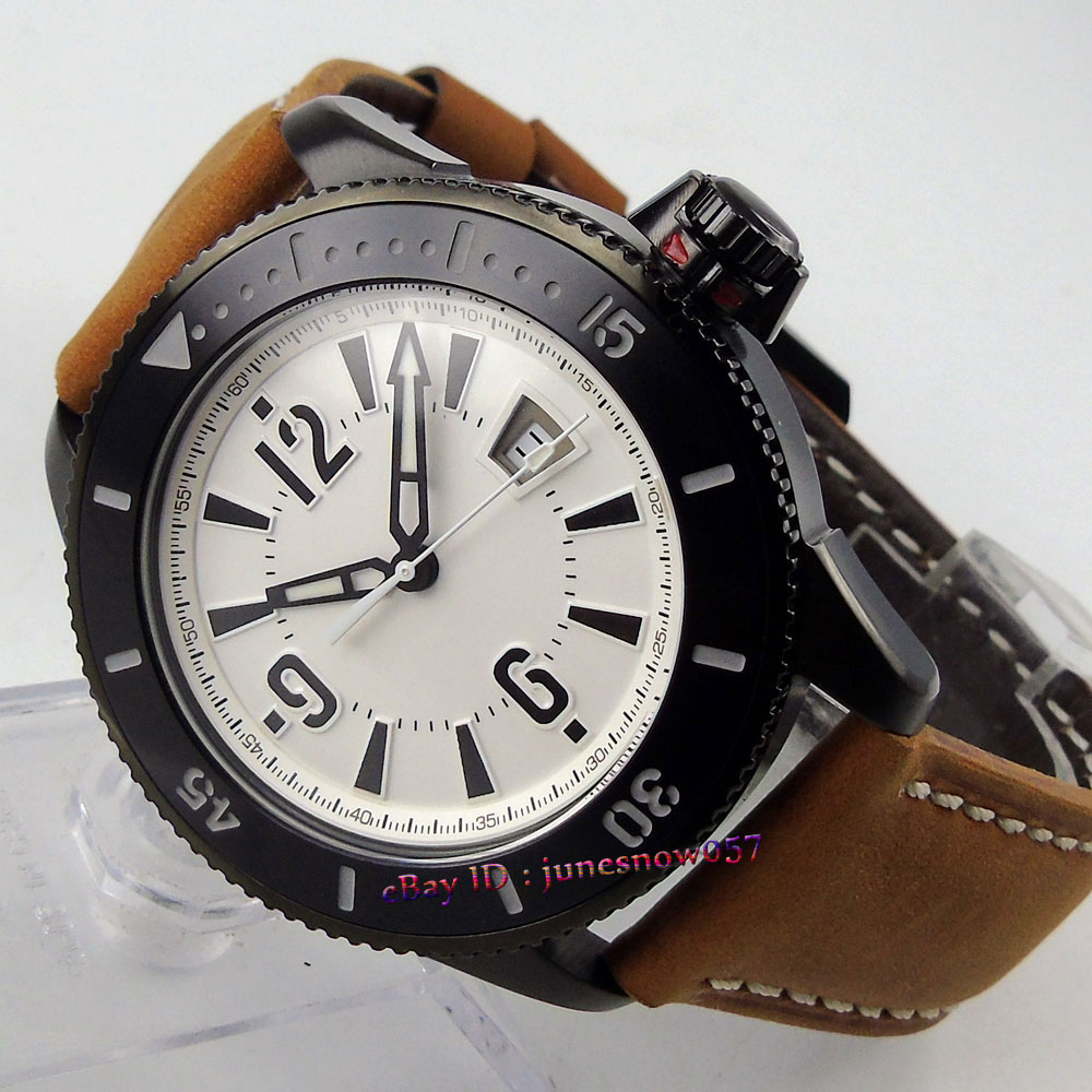 BLIGER 43mm White dial date display luminous ceramic bezel Black PVD case MIYOTA Automatic men's watch цена и фото