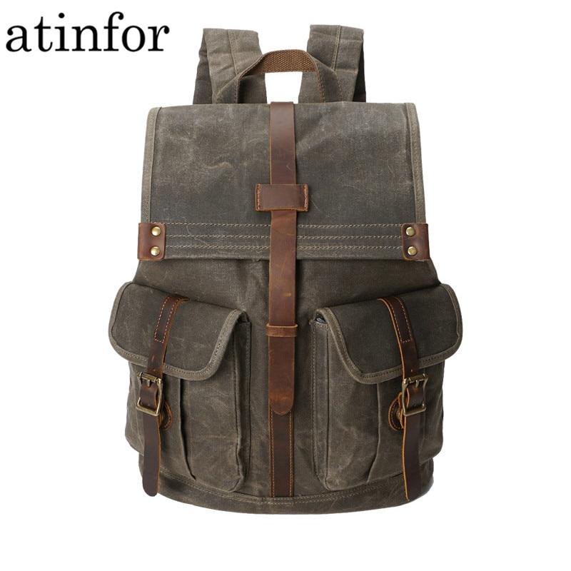Retro Backpack Men Waterproof Oil Wax Canvas Drawstring School  Rucksack Shoulder Vintage Travel Bagpack College Laptop Bag  BeltsBackpacks