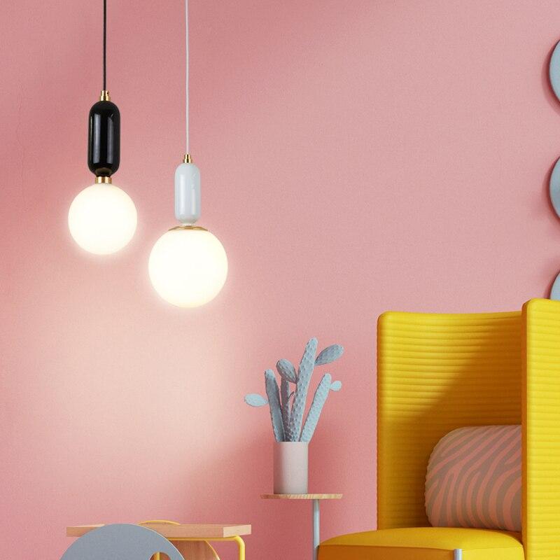 Işıklar ve Aydınlatma'ten Kolye ışıkları'de JAXLONG Cam Kolye Işık Nordic Basit Yatak Odası Oturma Odası Yaratıcı Kişilik Bar Restoran Kabarcık Topu Şekli Işık Cafe title=