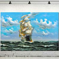 Navio de navigação Fotos Navio Acrílico Pintura Da Parede Da Arte Da Lona Barato arte Para Sala de estar Decoração de Casa Pintura A Óleo Abstrata Mão feito