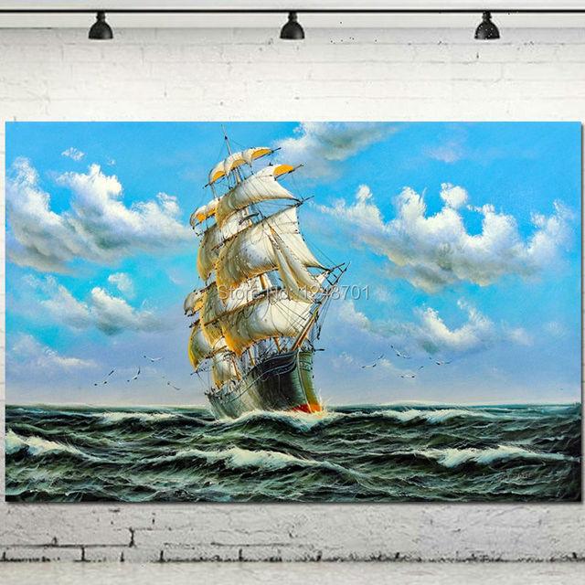 Segelschiff Bilder Leinwandkunst Billig Acryl Schiff Malerei Wand ...