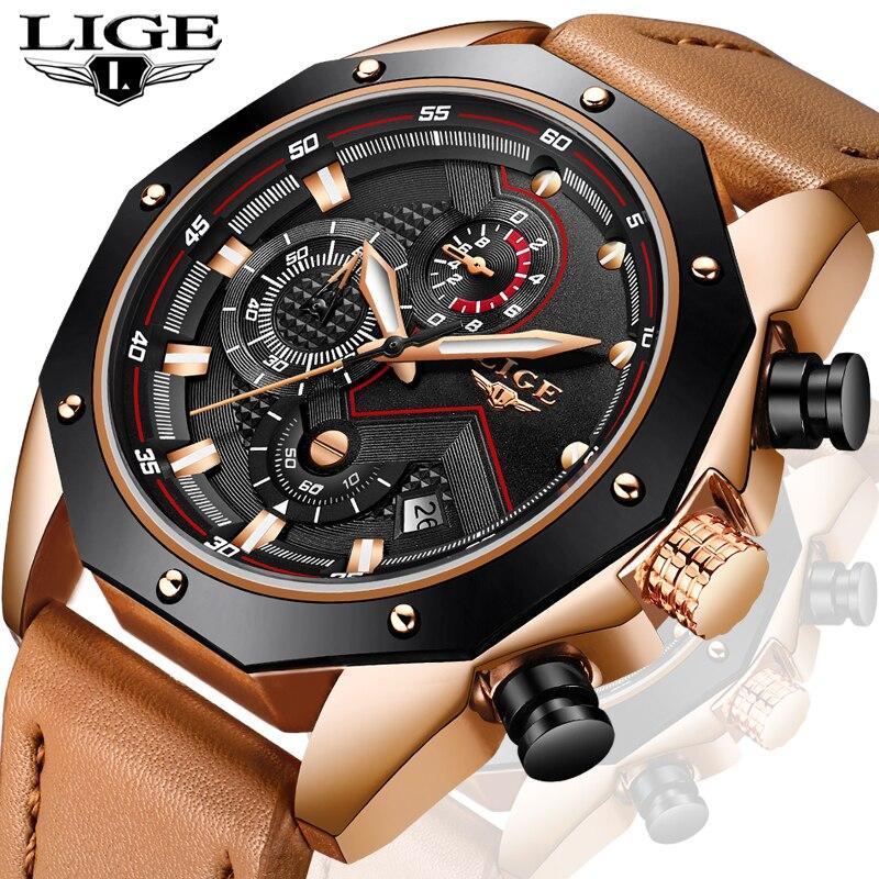 LIGE Men Watches Male Fashion Business Waterproof Quartz Watch Men's Casual Leather Military Sport WristWatch Relogio Masculino цена