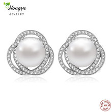 Hongye Classic Natural Freshwater Pearl Jewelry 2018 Trendy 925 Sterling Silver Pearl Stud Earrings Women Wedding Jewelry Gifts