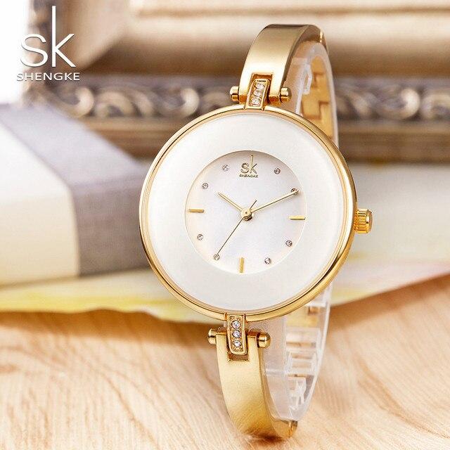 ShengKe Luxury Gold Women Watches Minimalism Fashion Stainless Steel Lady's Golden Bracelet Watch Wristwatch Female Gift Clock 2