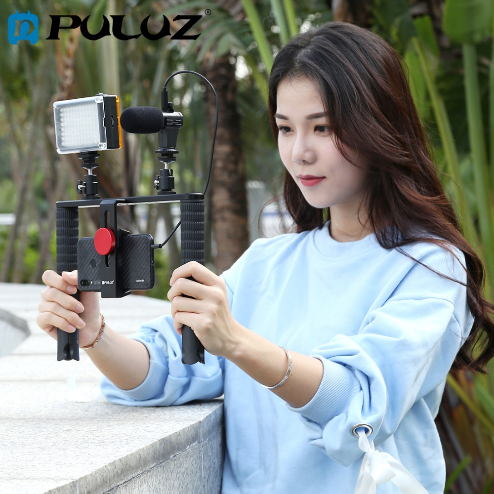 PULUZ 4 In 1 Vlogging Live Broadcast Kits Filmmaking Recording Smartphone Rig Stabilizer Film Steady Handle Grip Rig For IPhone