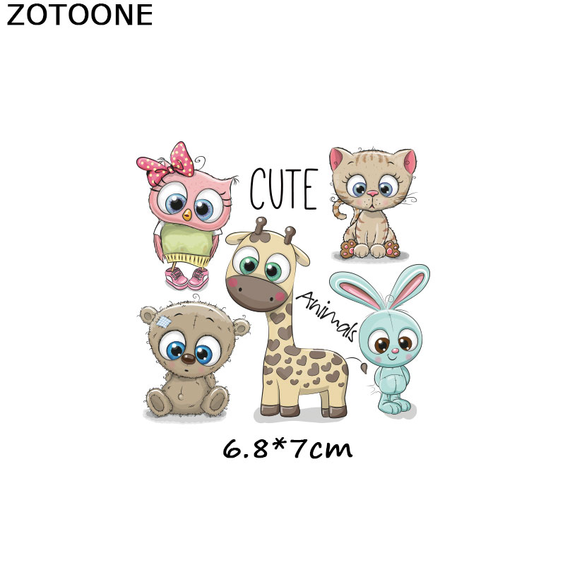 ZOTOONE Cute Bear Animals Patches Washable Iron on Transfers for T Shirt Children Gift DIY Clothes Stickers Dog Heat Transfer G in Patches from Home Garden