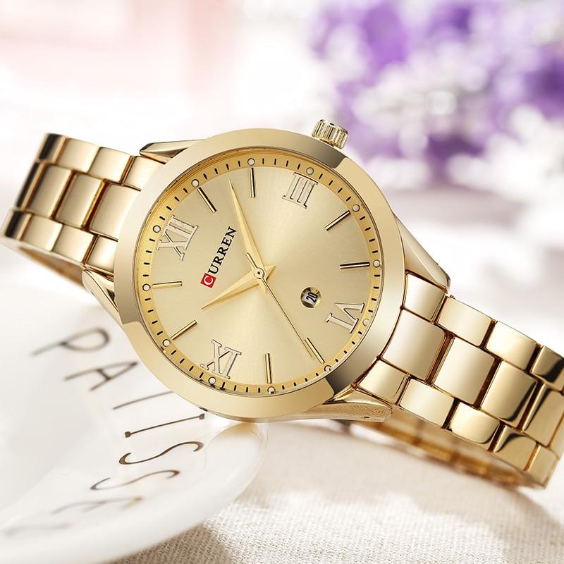 19e22ece3df525 CURREN złoty zegarek kobiet zegarki damskie 9007 stali nierdzewnej kobiet  bransoletki z zegarkiem kobieta zegar Relogio Feminino Montre Femme w CURREN  złoty ...