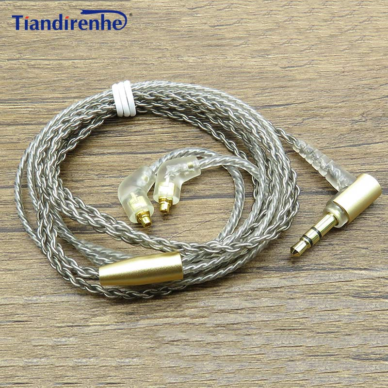 цены Upgrade 32 cores MMCX Cable for Shure SE215 SE425 SE535 SE846 Earphone Headset Silver Plate Headphone Wire Line Android IOS