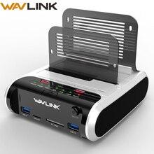 """Estación de acoplamiento de disco duro Wavlink 2,5 3,5 pulgadas USB 3,0 a SATA de doble bahía con clon fuera de línea y lector de tarjetas UASP para SSD de 2,5 """"y 3,5"""" HDD"""