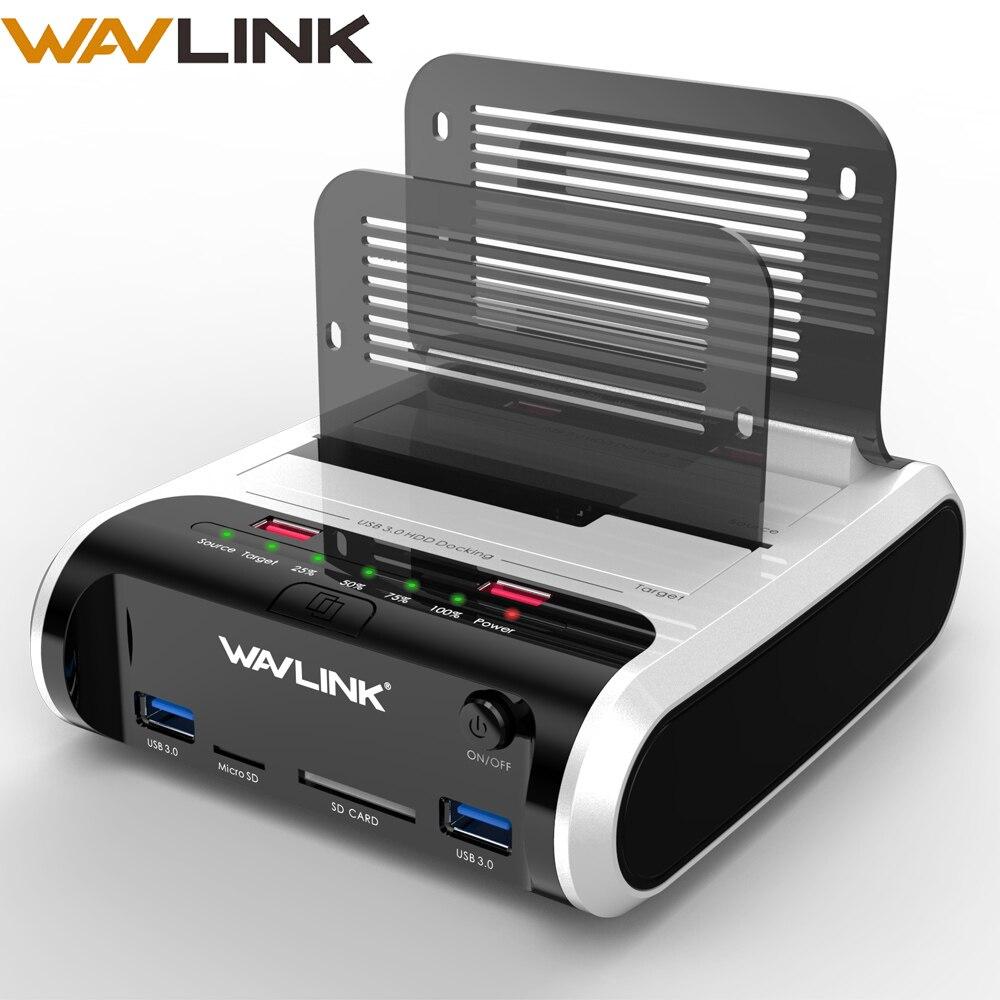 Wavlink 2.5 3.5 pouces USB 3.0 vers SATA Station d'accueil pour disque dur double baie avec Clone hors ligne et lecteur de carte UASP pour disque dur 2.5 et 3.5 SSD