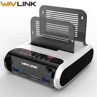 """Wavlink 2,5 3,5 pulgadas USB 3,0 a SATA Dual-Bay Hard Drive estación de acoplamiento con clon sin conexión y lector de tarjetas UASP para 2,5 """"y 3,5"""" HDD SSD"""