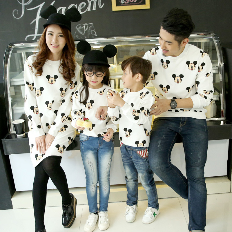 Sweatshirts Hoodies Son-Outfits Matching Mickey Family Look Daughter Boys Children Autumn