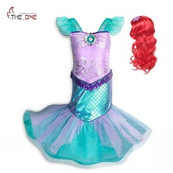 MUABABY Girl Little Mermaid Fancy Dress Up Kids Photography Tulle Ariel Cosplay Princess Costume Girls Christmas Party Long Gown