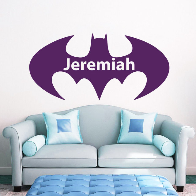 Superior Superhero Bat Personalized Name Wall Decal Boys Bedroom Applicable Playroom  Interior Fallow Vinyl Man Mighty Modern