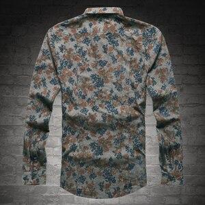 Image 3 - Yeni Moda Casual Erkek Gömlek Uzun Kollu Avrupa Stil Slim Fit Gömlek Erkekler Yüksek Kalite Pamuk Çiçek Gömlek S2124