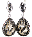 "11/2"" unique 925 Silver & Marcasite inlay white sea shell Waterdrop Earrings"