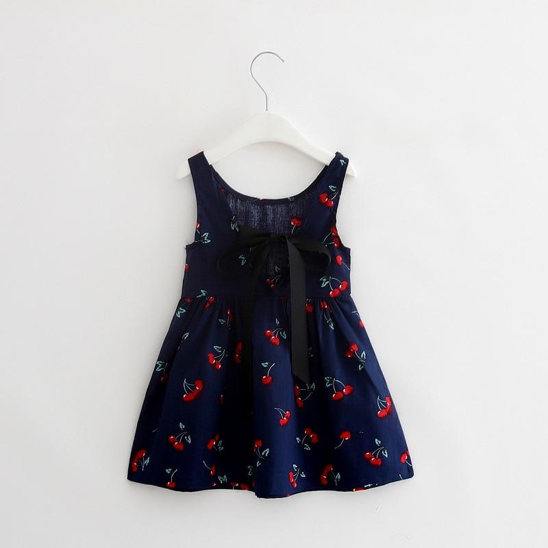 Summer Girl Dress Children Cotton Sleeveless Dresses Cherry Print Kids Dress for Girls Fashion Girls Clothing
