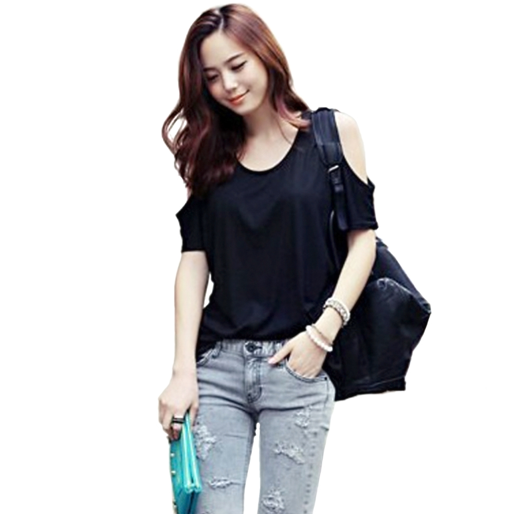 2015 women loose casual trendy shirt off shoulder cool for Trendy t shirts for ladies