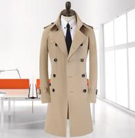 mens trench coat brand clothing plus size spring coat new business beige gentleman double breasted long manteau homme Korean