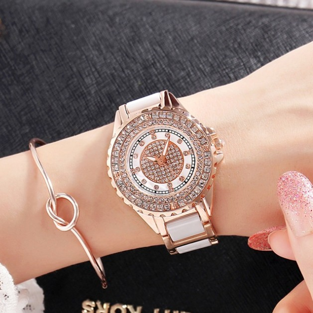 2017 Luxury Women Watches Austrian crystal Lady Dress Watch Ceramic Rhinestone Rose Gold Bracelet diamond Wristwatches new arrival grace bs brand full diamond luxury bracelet watch hot sale women 14k austrian crystals watch lady rhinestone bangle