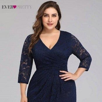 Plus Size Lace Mermaid Long Prom Dresses 2020 Ever Pretty EZ07682NB V-Neck 3/4 Sleeve Elegant Women Party Gowns Vestidos De Gala 5