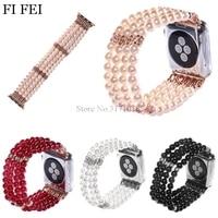 FI FEI Fashion Handmade Faux Pearl Natural Stone Bracelet Wristband Strap Women Girl For Apple Watch