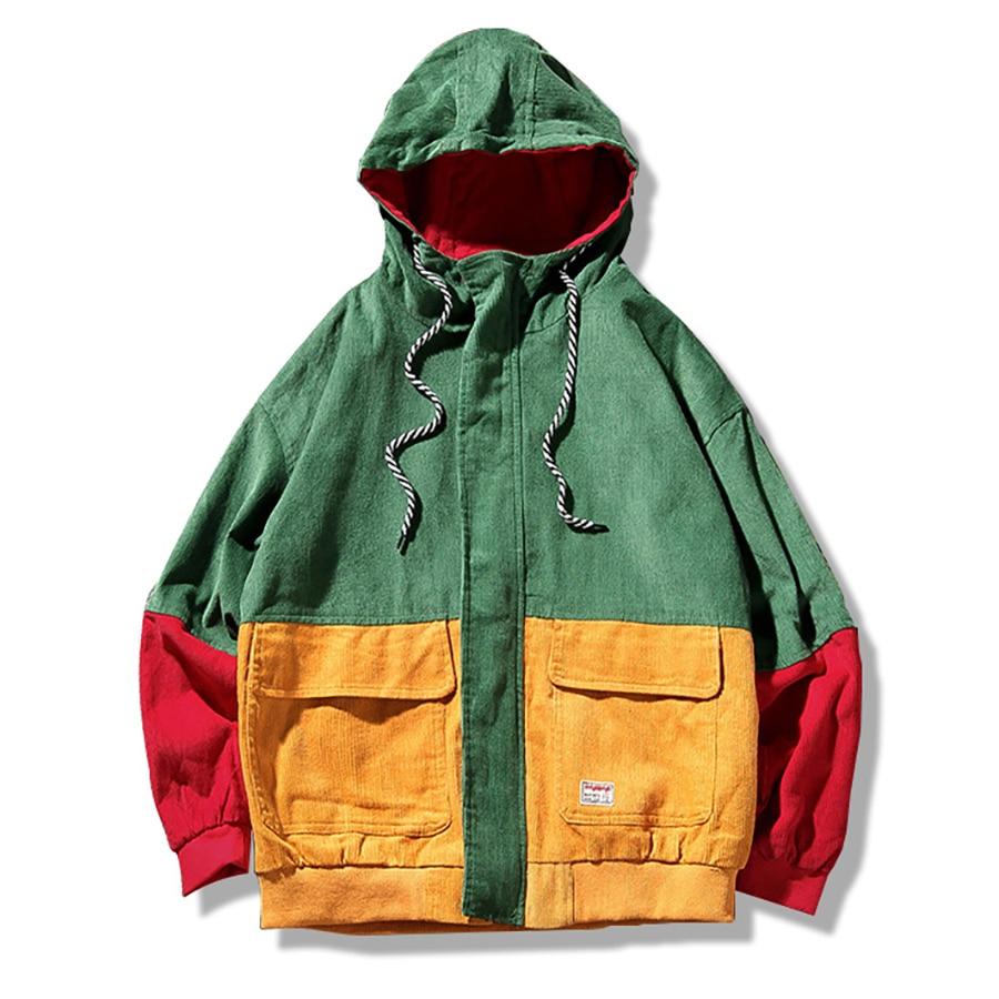 Hooded Color Block Corduroy Jacket Mens Oversize Bomber Punk Rock Mens Jackets And Coats Reggae Patchwork Hip Hop Streetwear 5J5