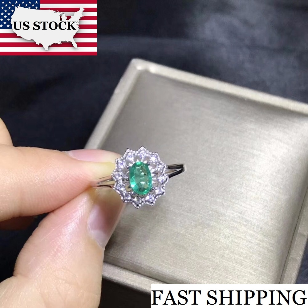 US STOCK Uloveido Women Emerald Gemstone Ring 925 Sterling Silver Green Stone Ring Women Promise Wedding
