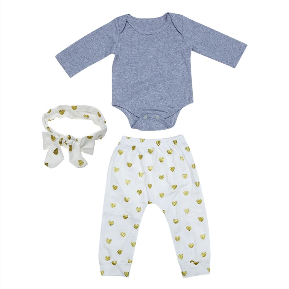 Cute Cartoon 3pcs Newborn Baby Clothes Long Sleeve Romper+Print Pants+Bowknot Headband Cotton Baby Girl Clothes Set
