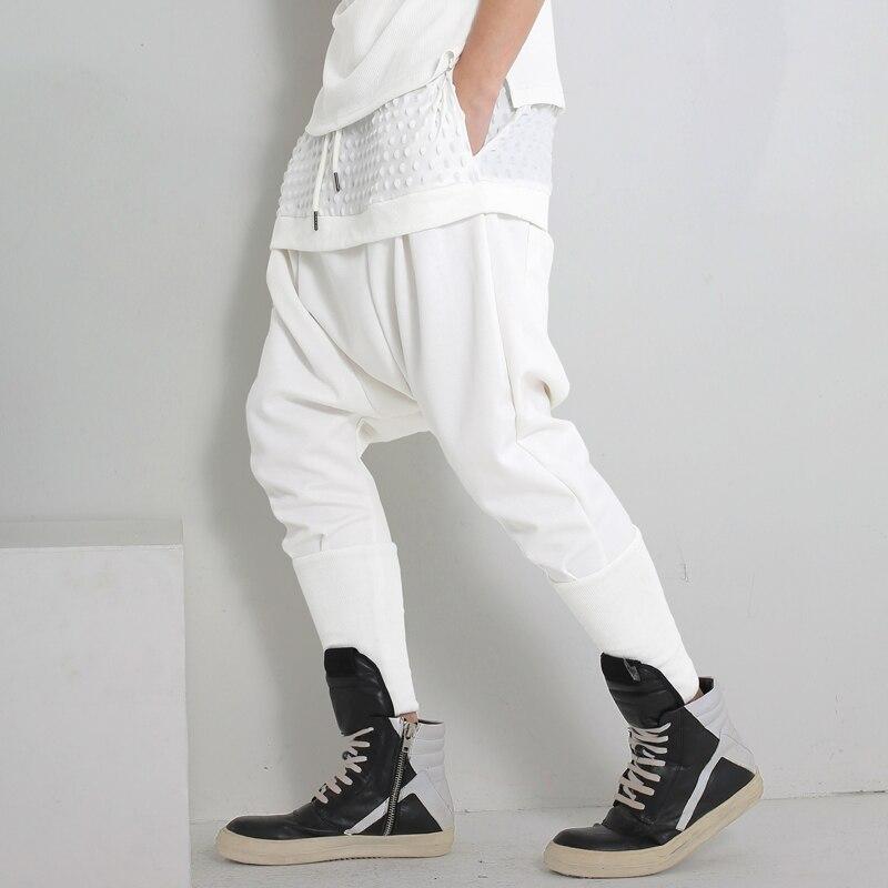 2017 весна мужская одежда хип-хоп личности искусственного двух частей белый случайные брюки длинные брюки певица одежда