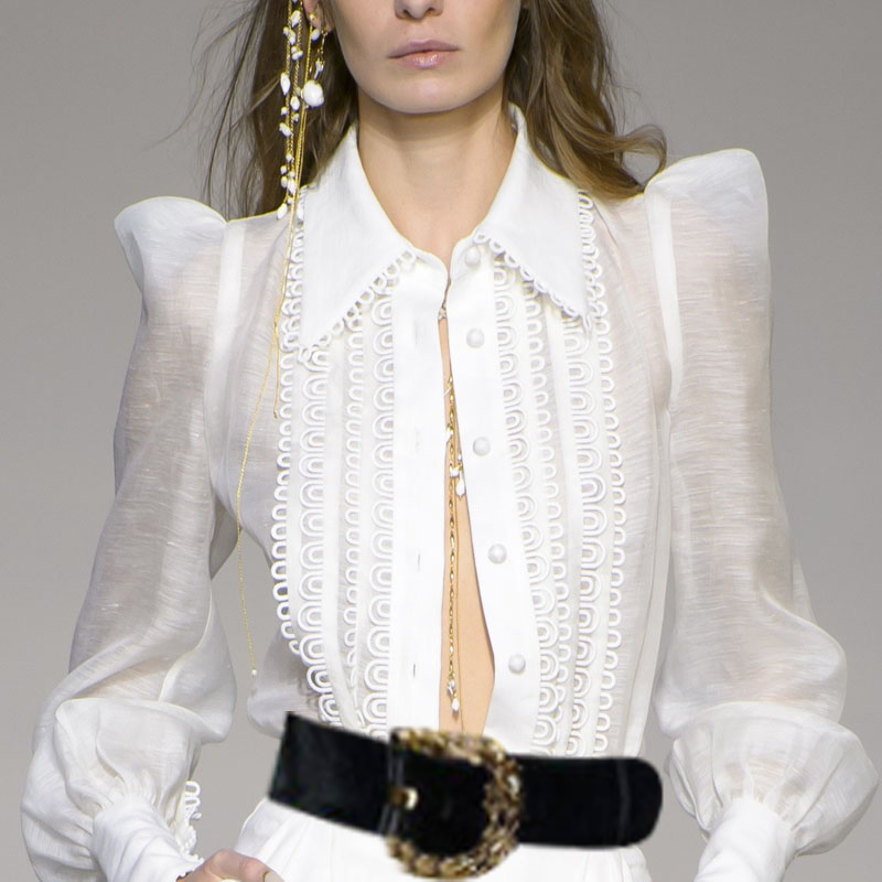 Women Golden Doily Blouse White Linen Blend Golden Doily Shirt Wing Collar Retro inspired Shirt With