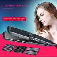 CkeyiN 4in1 100 240V Fast Heating Corn Corrugated Hair Straightener Ceramic Hair Curling Iron Waves Hair