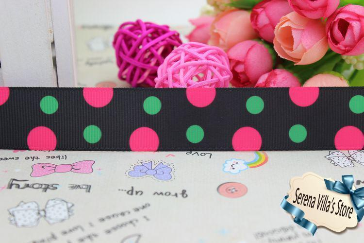 wholesale 7/8 polka dosts printed grosgrain ribbon hairbow diy party decoration 22mm fashion birthday gift paking christmas
