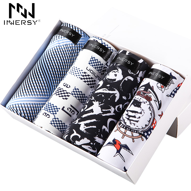 Innersy 2017 Shorts Mens 4Pcslot Mens Underwear Boxers Icy Breathable Boxer Men Boxer Printed Short Boxers Ultra thin Underwear