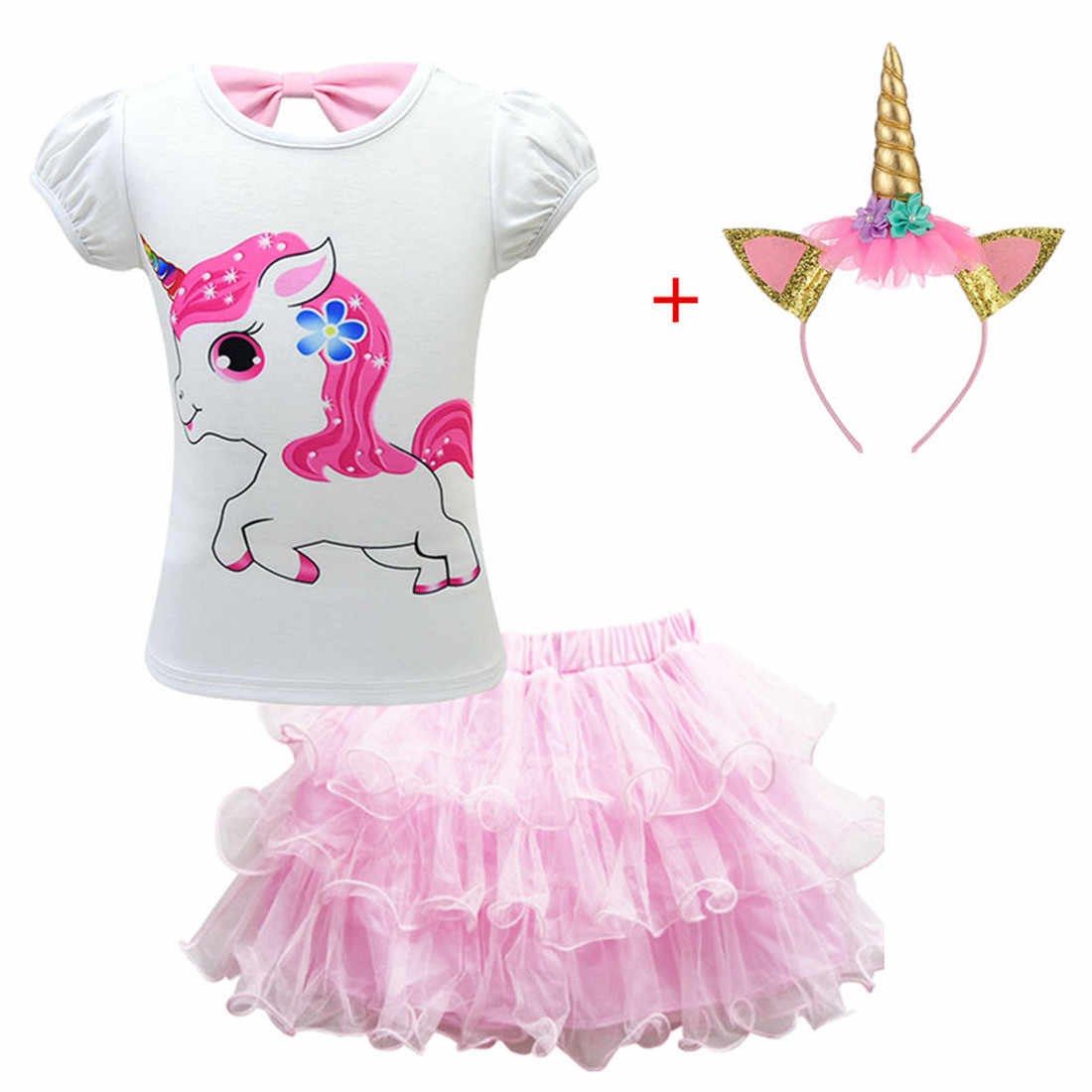 Trajes para niños niñas ropa de bebé conjunto de moda 2019 unicornio lol patrón camiseta falda de encaje lindo niños para cumpleaños fiesta