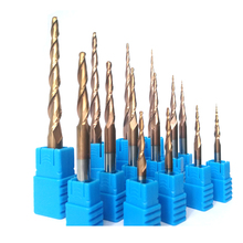 Reseller price HRC55 Tapered Ball Nose End Mill Tungstencarbide Coated Tapered cone cnc milling cutter engraving router bits p60 16 6 120mm v shape ball nose bit cnc grinding diamond stone router bits milling cutter for engraving 3d letter carving