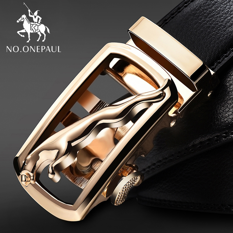 NO.ONEPAUL Fashion Belts For Men Alloy Buckle Belts New Cow Genuine Leather Men's Belt Cowhide Strap For Male Automatic Buckle
