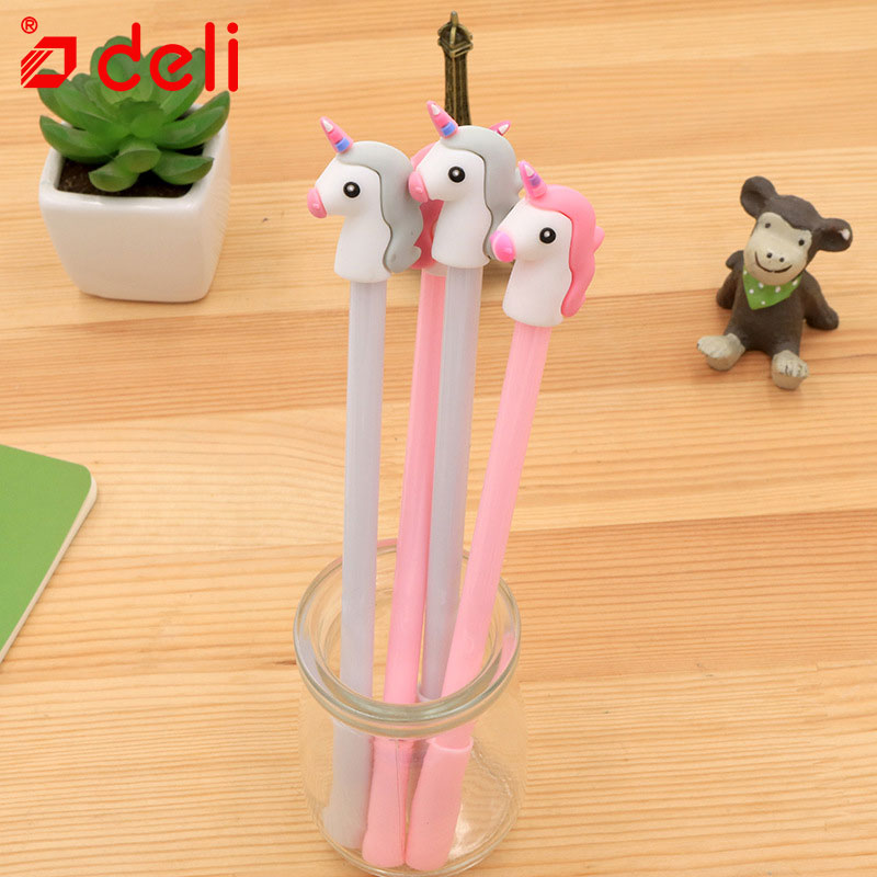 Deli 4pcs Neutral Pen Kawaii Unicorn Style Gel Pen Refills 0.5mm Black Ink Writing Neutral Pen For Student School Stationery
