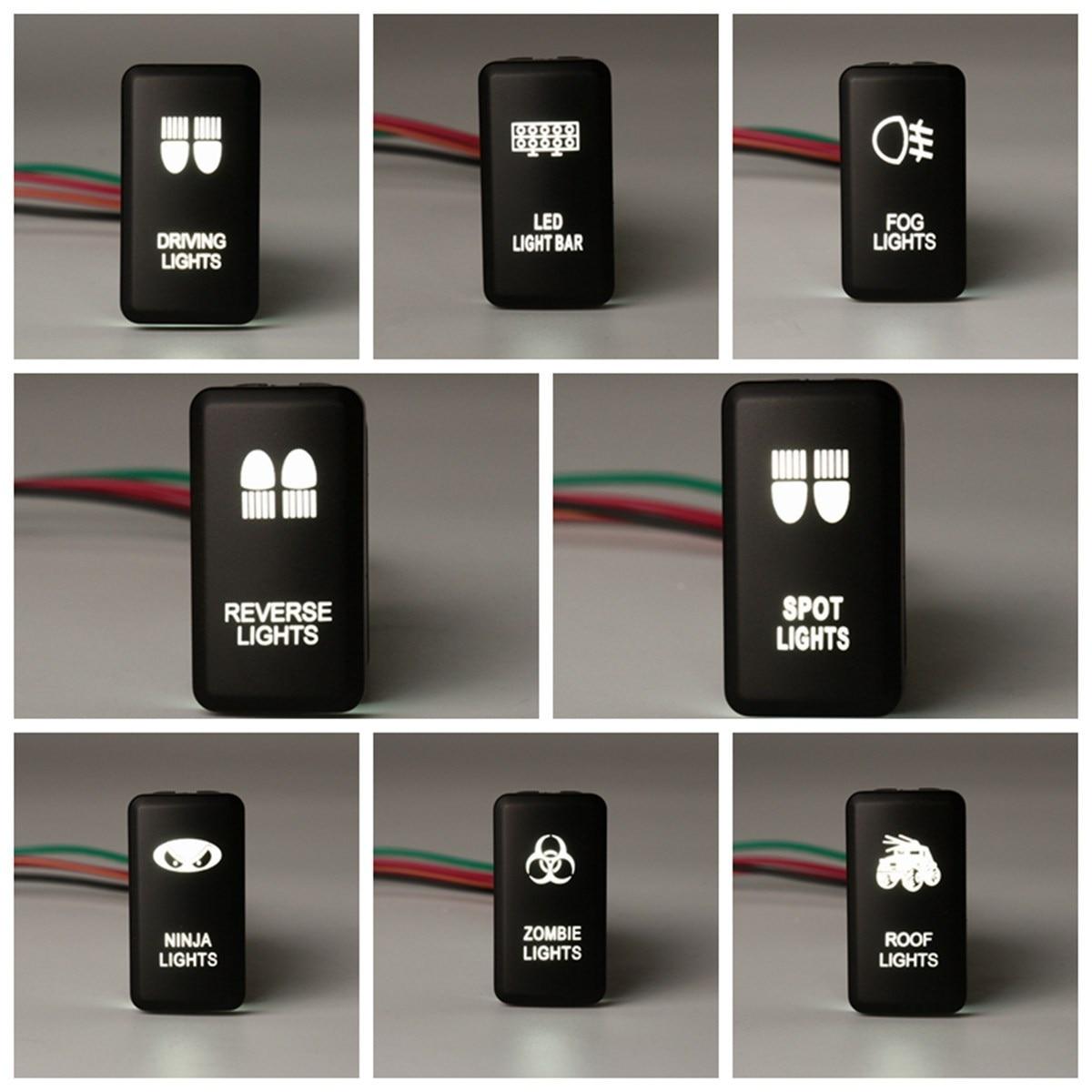 1x Dual White ON/OFF LED Light Bar Push Switch For Toyota Landcruiser Hilux Prado 120 /FJ CRUISE